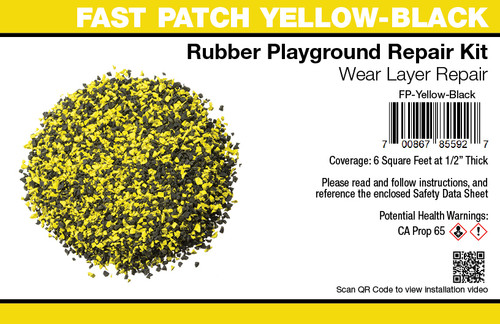 Fast Patch Yellow - Black  Poured-in-Place Surfacing Repair Kit Fix Rubber Playground