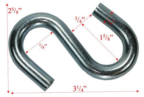 "3/8"" x 3"" Zinc Coated Standard End S-Hook Dims"