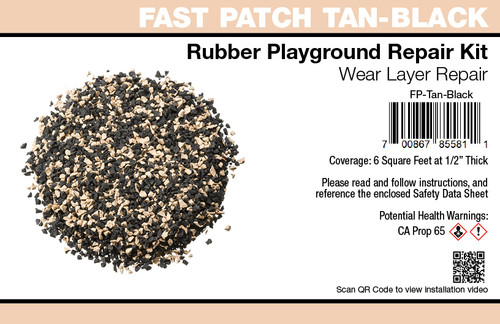 Fast Patch Tan-Black  Poured-in-Place Surfacing Repair Kit Fix Rubber Playground