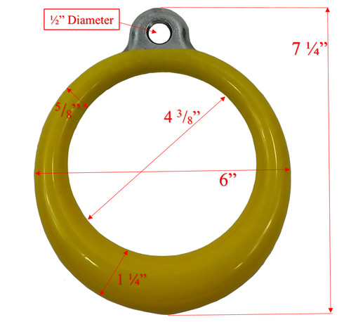 "Trapeze Ring Coated 6"" OD Dims"