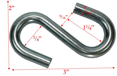 "5/16"" x 3"" Zinc Coated Standard End S-Hook Dims"