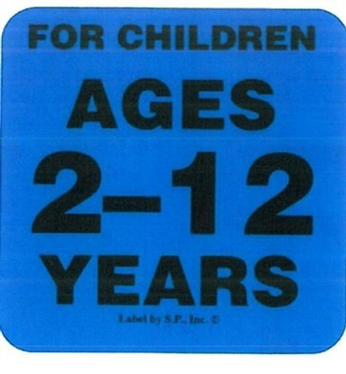 "label reading ""for children ages 2-12 years"""