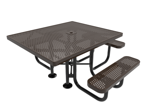 """46"""" Square Punched Steel 3 seat ADA Picnic Table"""