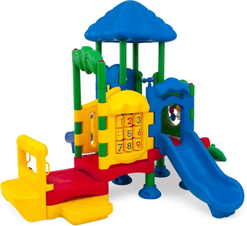 discovery center four children's outdoor playset with roof