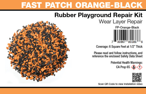 Fast Patch Orange Black Poured-in-Place Surfacing Repair Kit Fix Rubber Playground