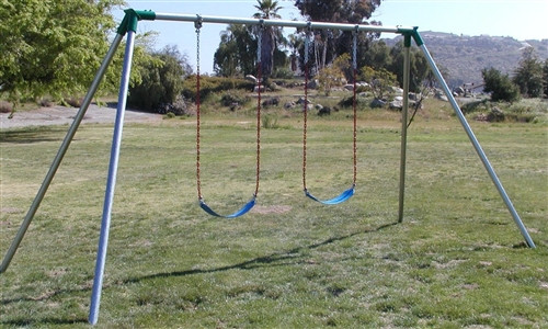 2 Seat Standard Swingset with Strap Seats - 8' High