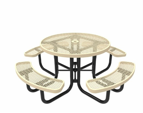 """46"""" Round Expanded Metal Picnic Table - Portable"""