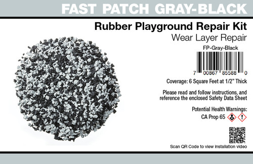Fast Patch Gray - Black Poured-in-Place Surfacing Repair Kit Fix Rubber Playground