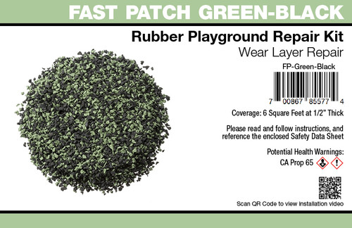 Fast Patch Green Black Poured-in-Place Surfacing Repair Kit Fix Rubber Playground