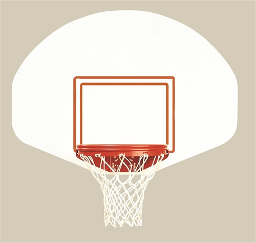 basketball backboard, hoop, and net