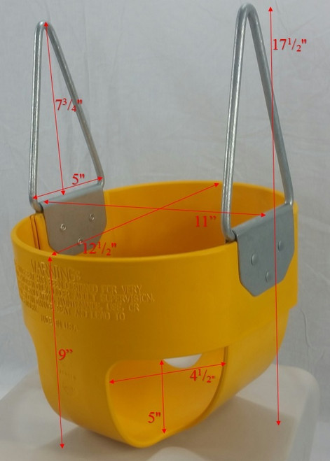 Tot Full Bucket Rubber Swing Seat Dims