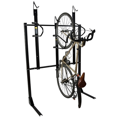 bike mounted on vertical wall mount rack