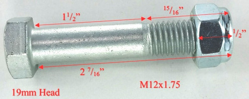 "12mm x 2 1/2"" Hex Head Bolt & Nut Dims"