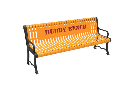 Slatted Steel Buddy Bench