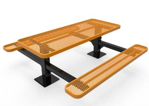 6' Rectangular Expanded Metal Dual Pedestal Picnic Table