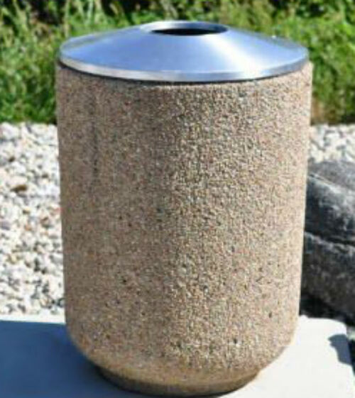 30 Gallon Cement Trash Can with convex aluminum top