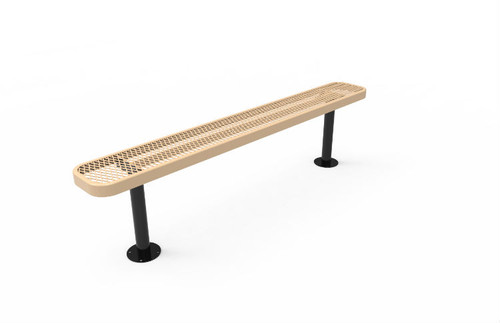 6' Expanded Metal Bench without Back - Surface Mount