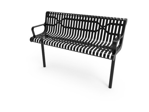 inground Slatted Steel Contour Bench