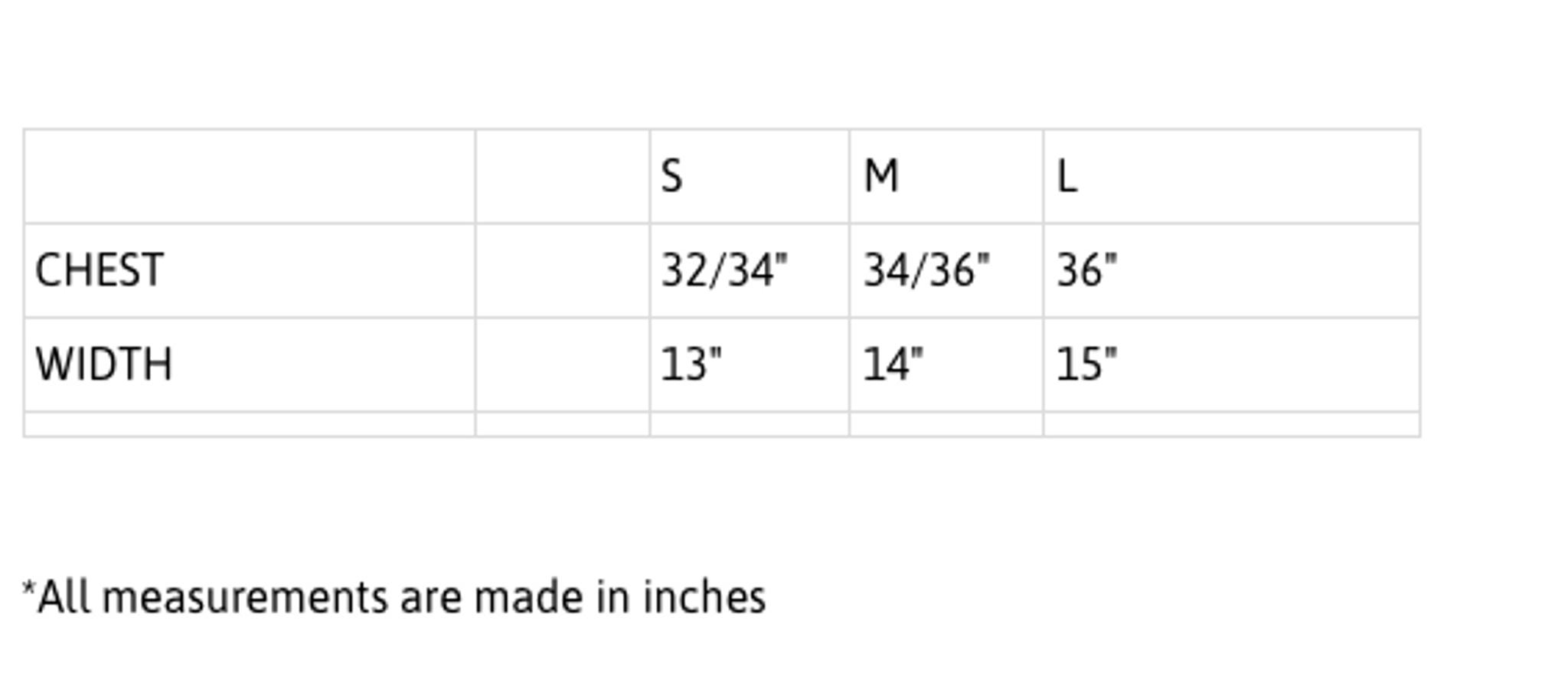 Rivalry Sport bra measurements