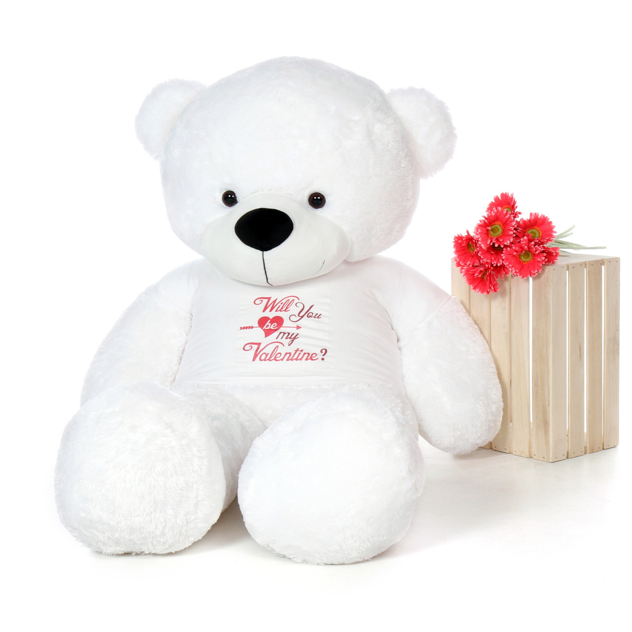 6ft Giant White Teddy Bear Coco Cuddles for Valentine's Day