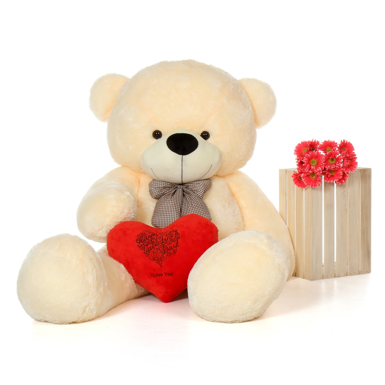 6f Vanilla Cozy Cuddles Giant Teddy Bear w Happy Valentine's Day ILY red Heart