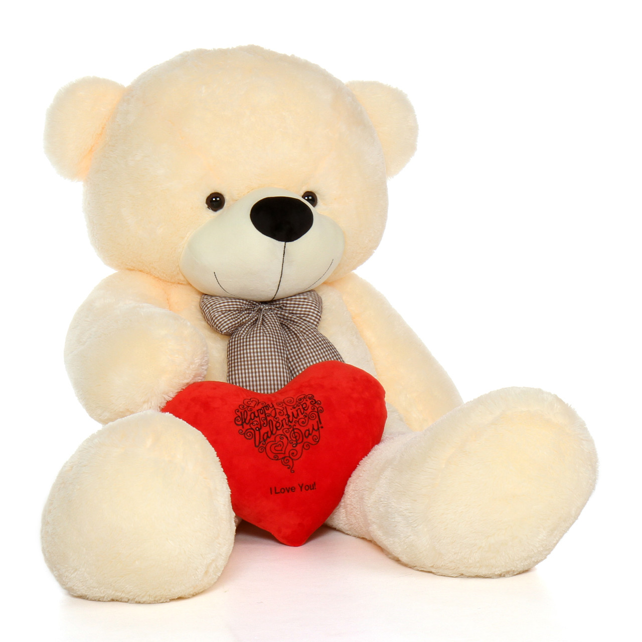 72in Vanilla Giant Teddy Bear w Red Heart Pillow