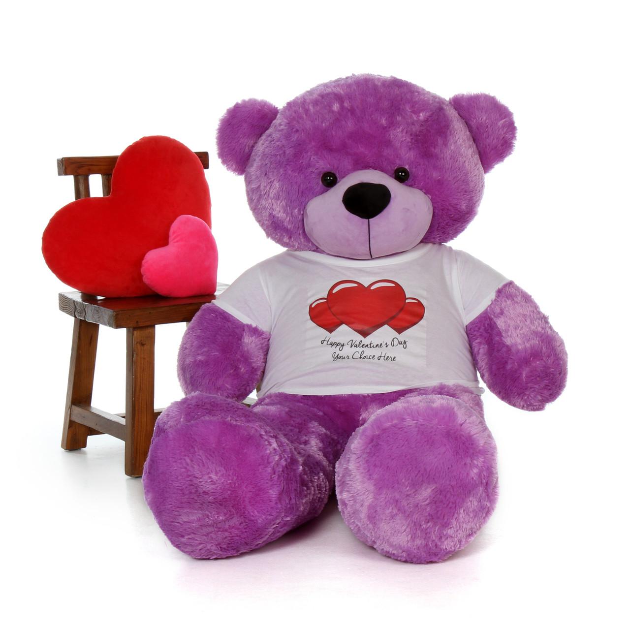 60in DeeDee Cuddles Purple Giant Teddy in Happy Valentine's Day Red Heart Shirt