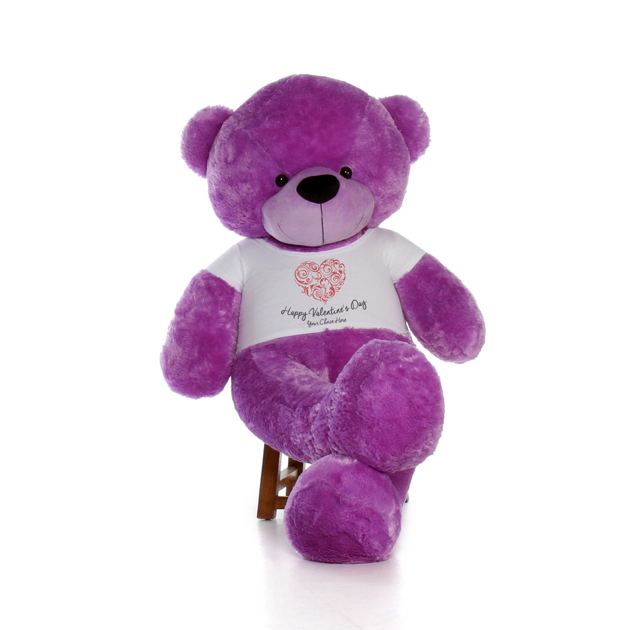 Super Soft Adorable Purple Giant Teddy Bear with Valentine's Day T-shirt