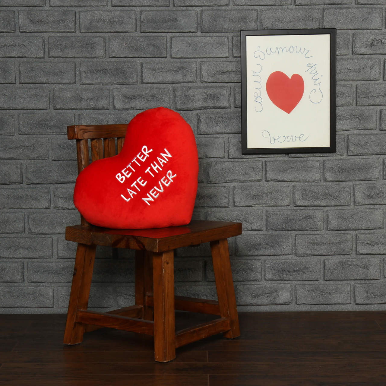 "Personalized Red Pillow Heart with ""Better Late Than Never"" Message"