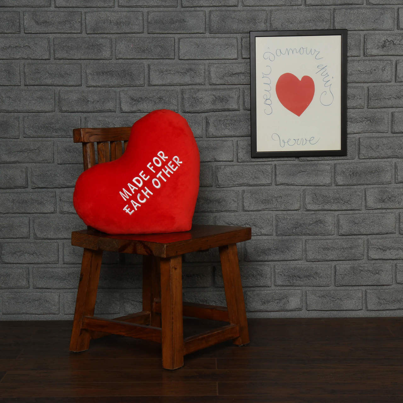 "Personalized Red Pillow Heart with ""Made for Each Other"" Message"
