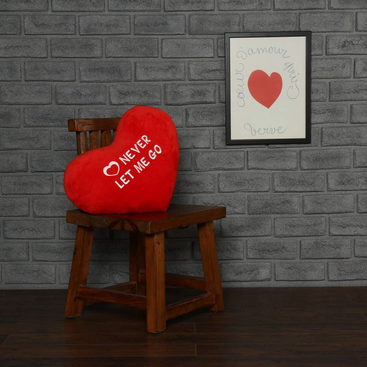 """Personalized Red Pillow Heart with """"Never Let Me Go"""" Message"""