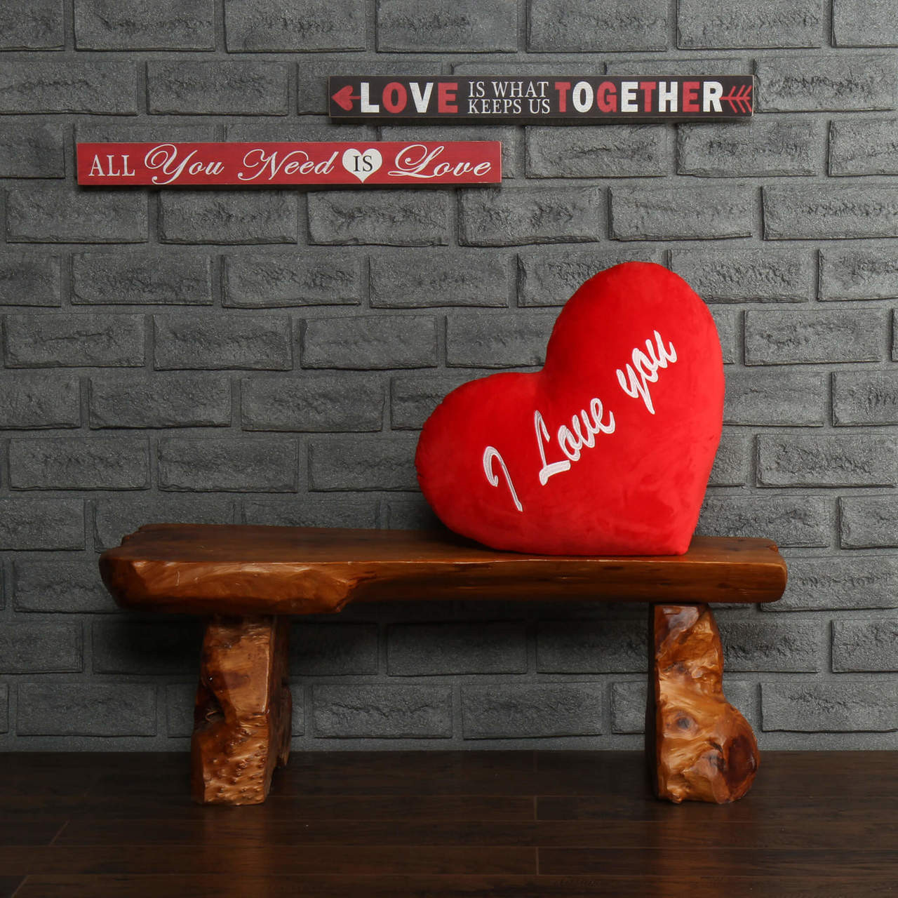 I Love You Red Heart Pillow