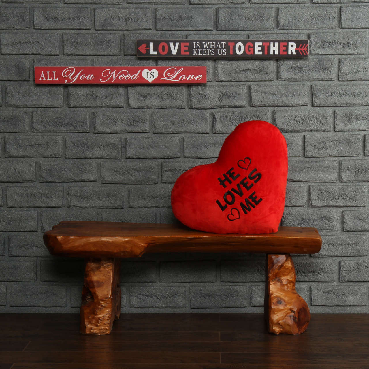He Loves Me Red Heart Pillow