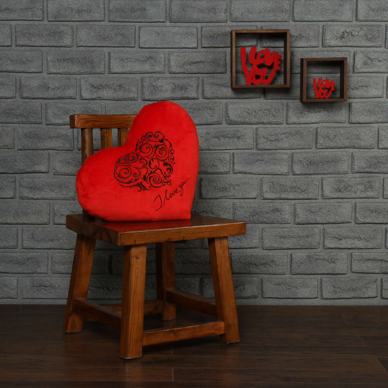 """18in red heart pillow black embroidery I love you"