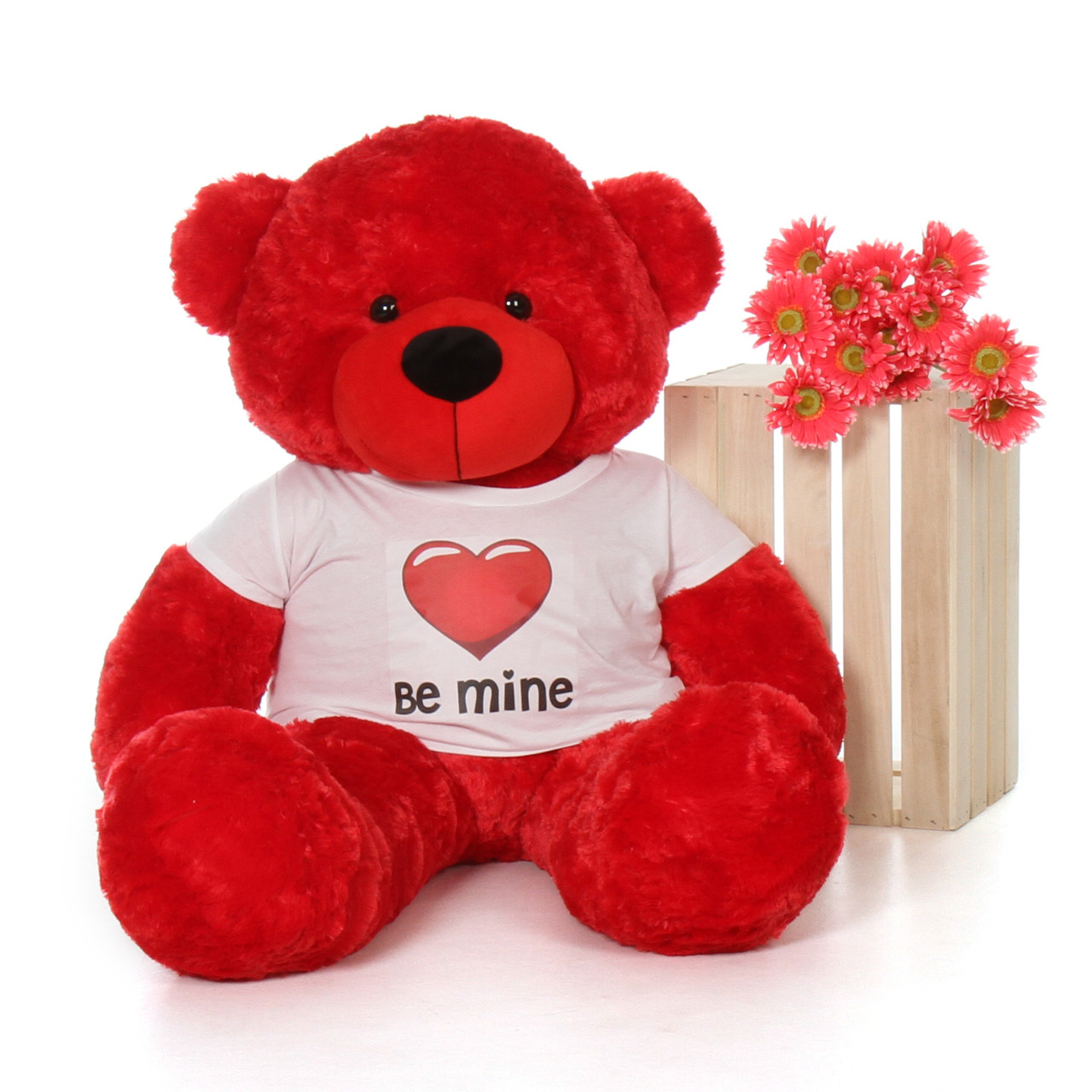48in Red Bitsy Cuddles Giant Teddy with a Be Mine Valentine's Day T-Shirt