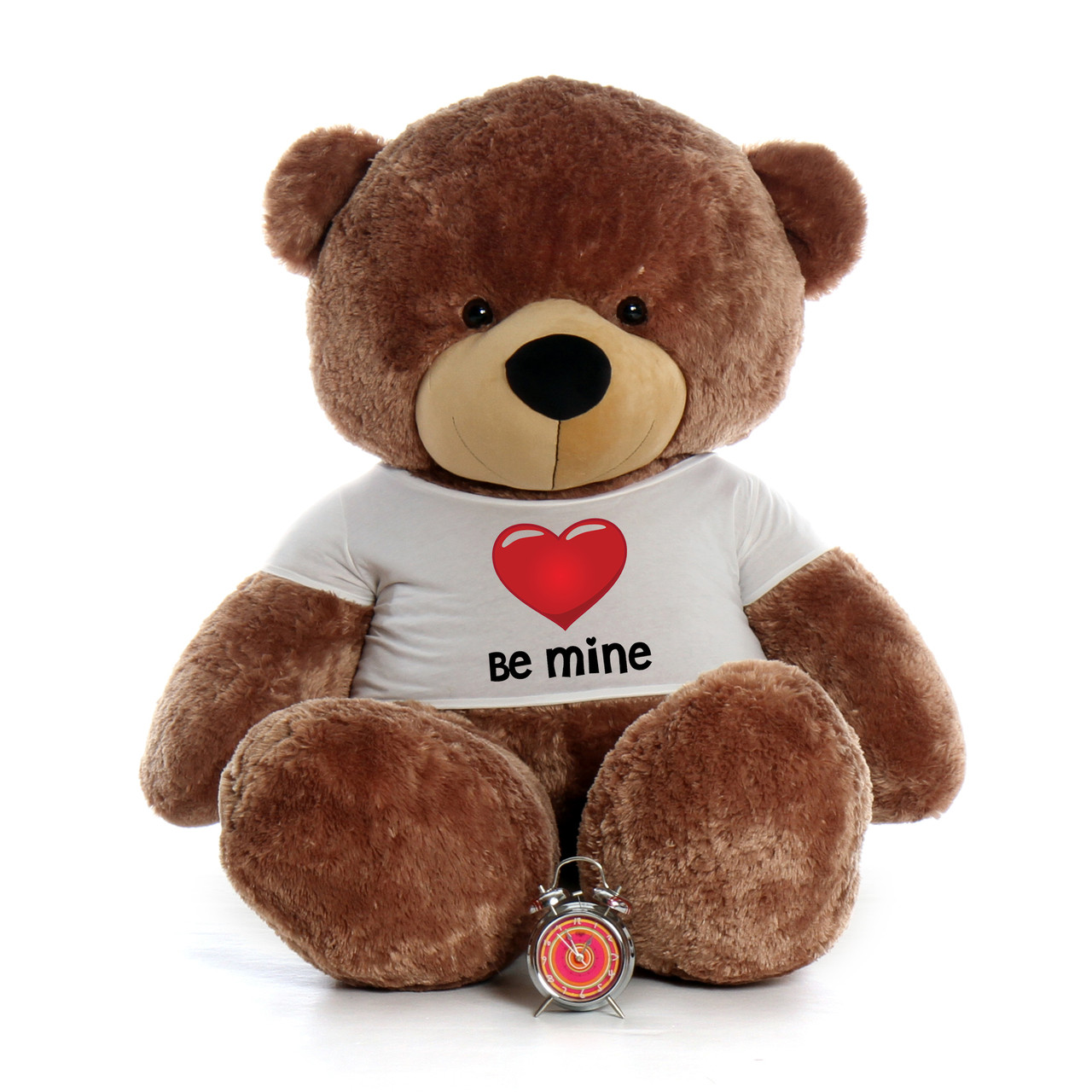 """72"""" Mocha Brown Sunny Cuddles by Giant Teddy in Be Mine Valentine's Day T-Shirt"""