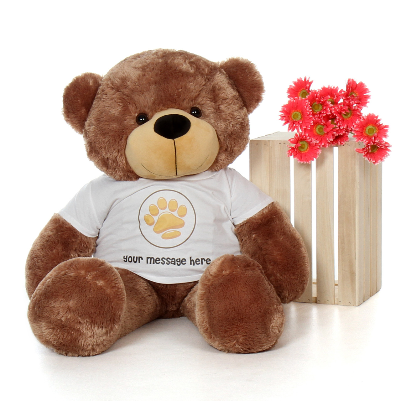 4ft Sunny Cuddles Mocha Brown Giant Teddy Bear in Valentine's Day Paw Stamp T-Shirt