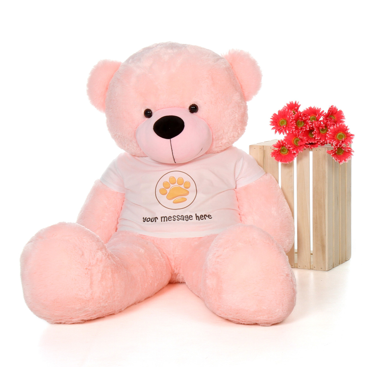 60in Lady Cuddles Pink Giant Teddy Bear in Paw Stamp Valentine's T-Shirt