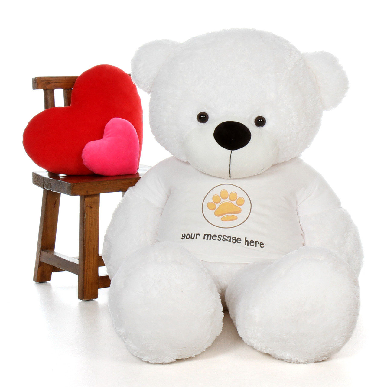 60in Coco Cuddles White Giant Teddy Bear in Paw Stamp Valentine's T-Shirt