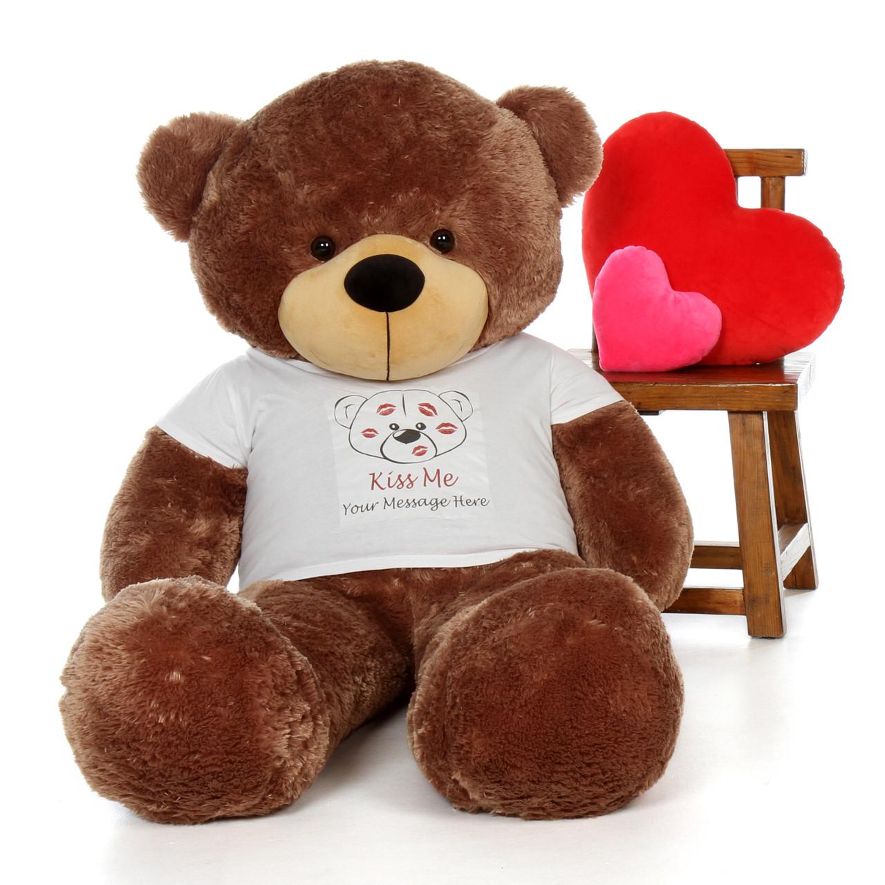 5ft Sunny Cuddles Mocha Brown Teddy Bear in Valentine's Day Kiss Me Shirt