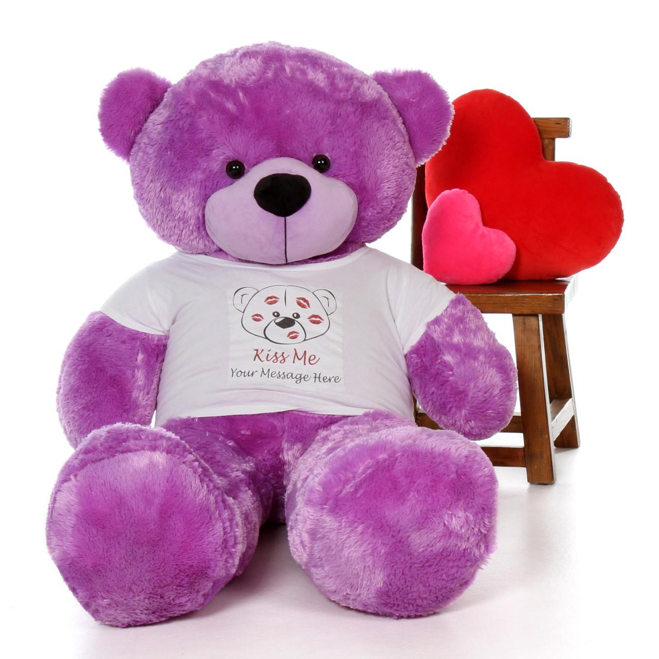 5ft DeeDee Cuddles Purple Giant Teddy in Valentine's Day Kiss Me Shirt