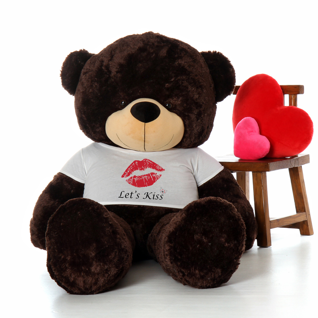 72in Brownie Cuddles Giant Teddy Bear wearing a Let's Kiss T-Shirt for Valentine's Day