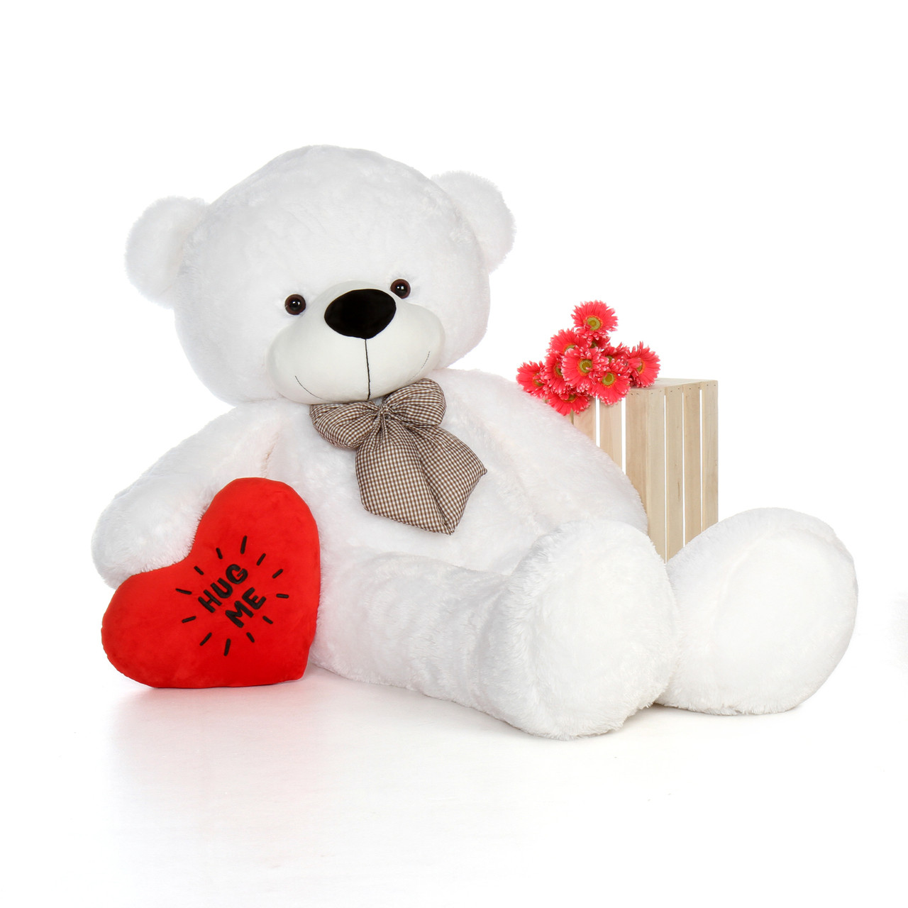 6ft Coco Cuddles White Giant Teddy Bear with a Red Hug Me Heart pillow