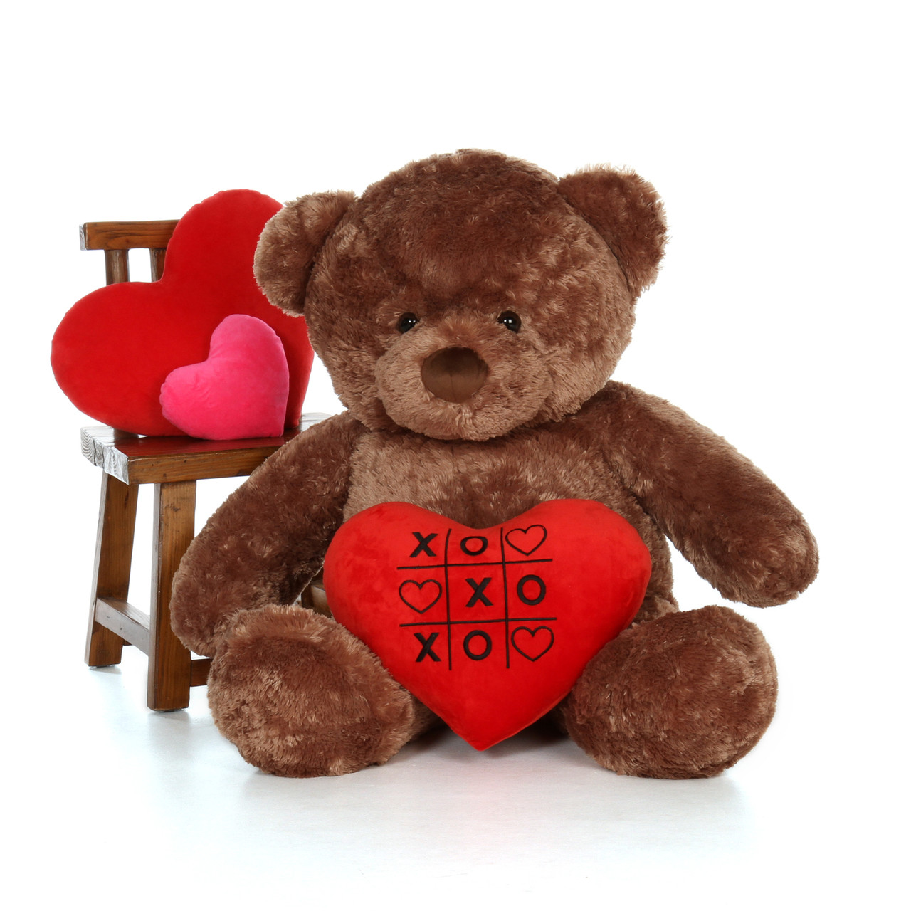 4ft Mocha Brown Big Chubs Bear by Giant Teddy with a cute XOXO heart pillow