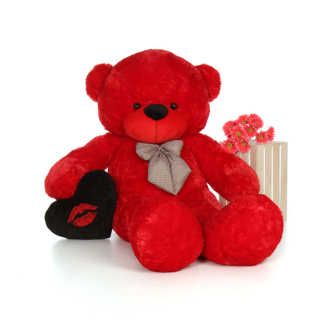 6ft Giant Red Teddy Bear Bitsy Cuddles with a Black Kiss plush heart