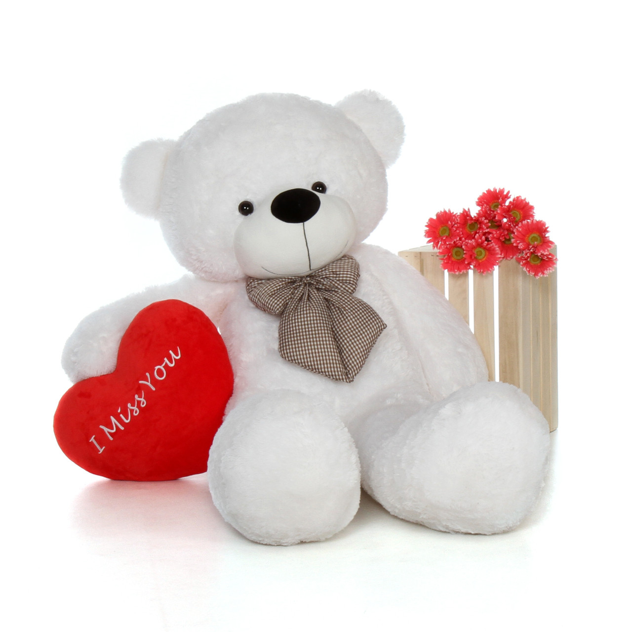 42352a789fe 5 foot Huge Valentine s Day White Teddy Bear beautiful  I Miss You ...