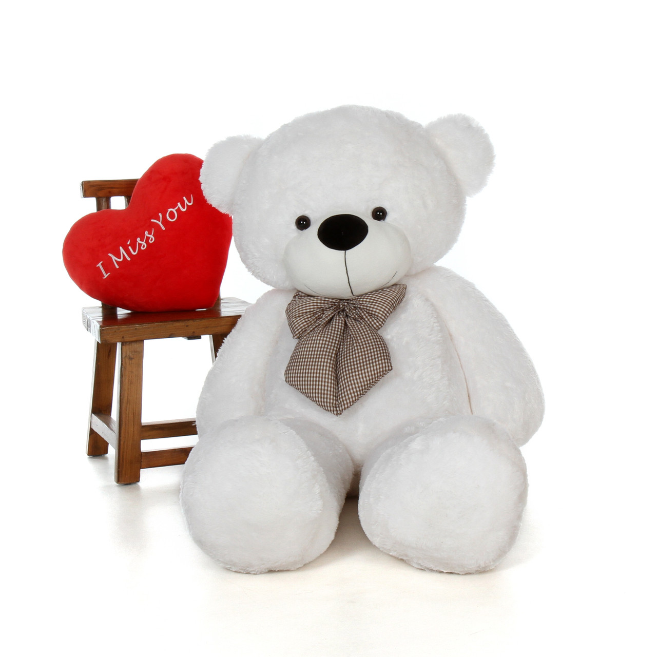 5ft Coco Cuddles for Valentine's Day White Teddy Bear with I Miss You heart pillow