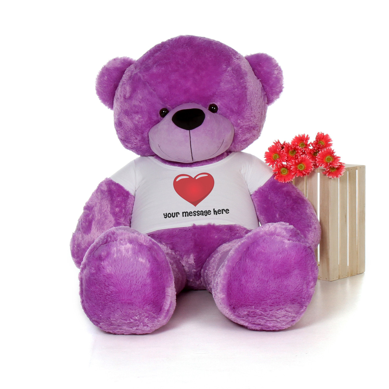 6ft DeeDee Cuddles Purple Giant Teddy in Personalized Red Heart Shirt