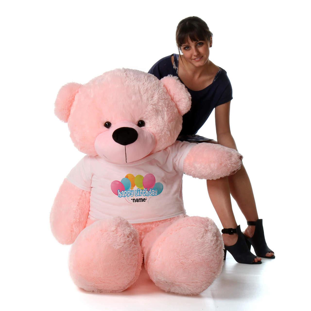 60in Pink Lady Cuddles Happy Birthday Personalized Teddy Bear