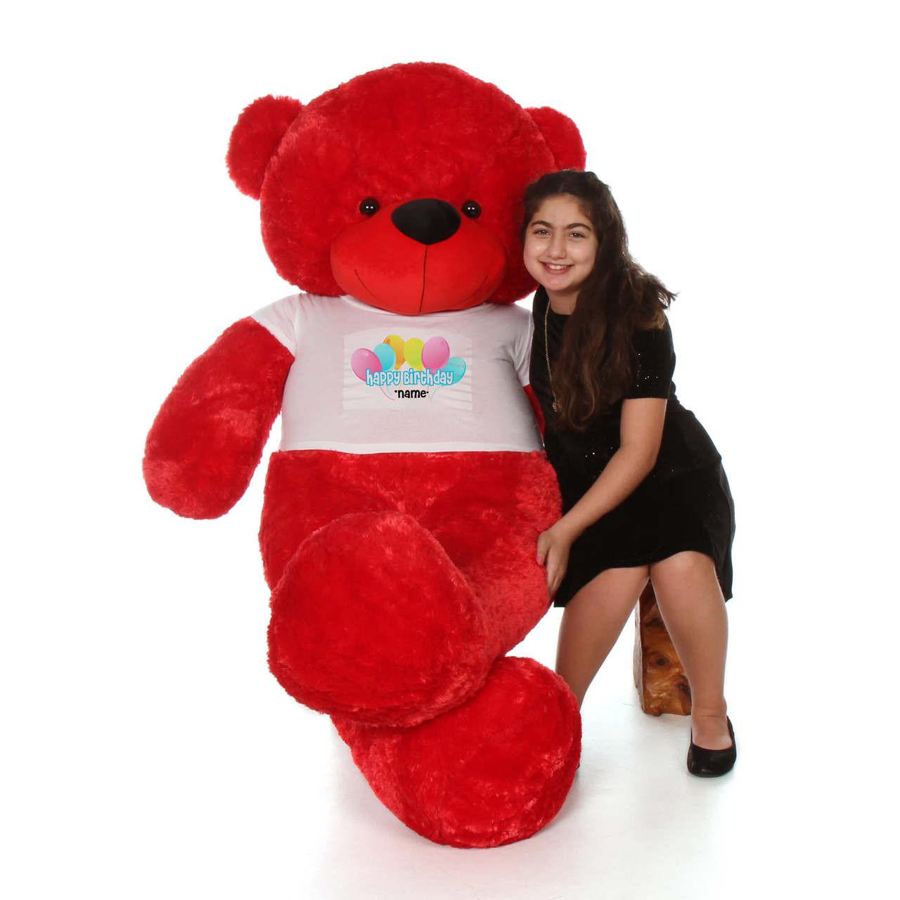 6 Foot Red Bitsy Cuddles Happy Birthday Personalized Teddy Bear - Balloon Design